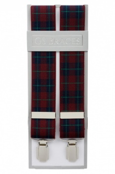 Burgundy Wine Tartan Elastic Trouser Braces With Silver Colour Clips